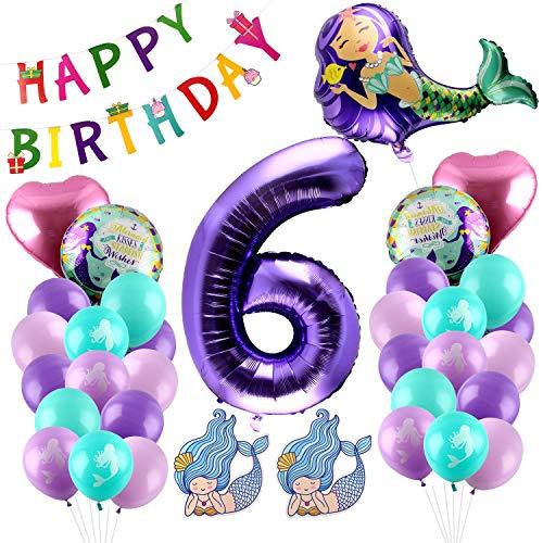 Esportic Decoración de Cumpleaños Sirena, Sirena Globo, Kit Globos Sirena, Globo de Cumpleaños, Sirena Cumpleaños Fiesta Banner para Temas del Mar Fiesta De Cumpleaño. (6)
