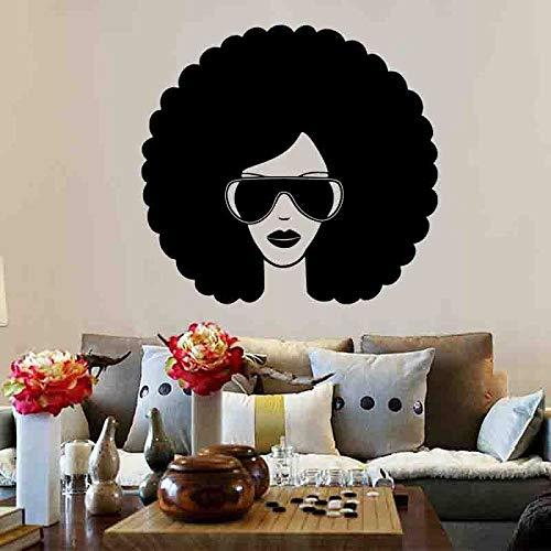 Moda chica negra etiqueta de la pared belleza con gafas de sol vinilo calcomanía de pared extraíble salón de belleza decoración de interiores etiqueta de la pared A6 42x40cm