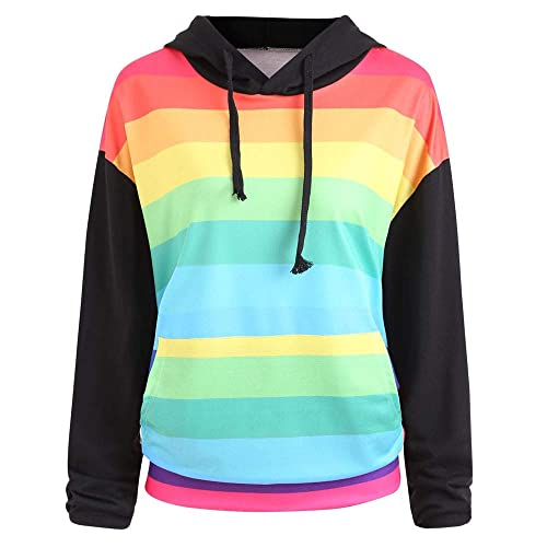 730d16418 Goddessvan Women Long Sleeve Rainbow Print Hoodie Pullover Sweatshirt  Blouse Shirts
