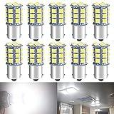 DEFVNSY 10PCS Bombilla LED Blanco superbrillante 1156 BA15S 1141 1073 7506 para luz de Techo de 12V 5050 27-SMD RV/iluminación Interior de RV Remolque de Viaje/Caravana/luz de Barco