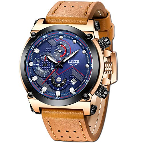 LIGE Relojes Hombre Militar Impermeable Deportes Analogicos Cuarzo Relojes Hombre Lujo Azul Automática Fecha Cuero Relojes