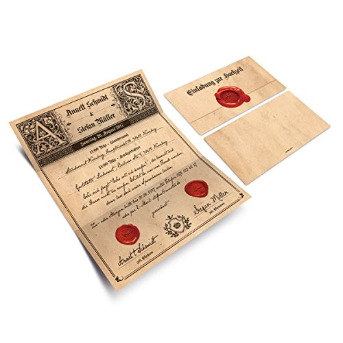 Hochzeitseinladungen (20 Stück) - Siegelbrief - Hochzeitskarten Brief Wickelfalz mit Aufkleber