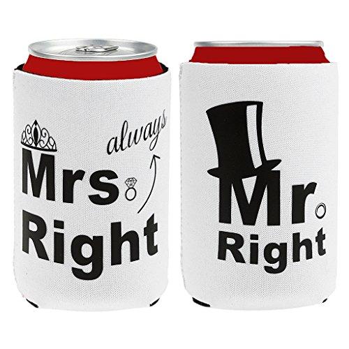 Milageto Mr and Mrs Right Nupcial Ducha Lata Mangas Tenedores Regalos de Boda