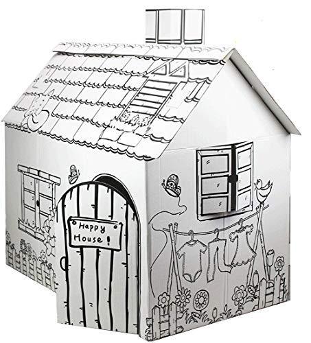 FUNTRESS 子供段ボールプレイハウス 手作り落書きゲームハウス DIY着色絵画ゲーム 折りたたみ式塗り絵おも...