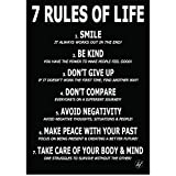 HFL Motivational Poster for Affirmation Rules -11.7 x 16.5 inch Poster for Office Decor, College Dorm, Teachers, Classroom, Gym Workout & School! Inspirational Wall Art to Change your Mindset for Growth
