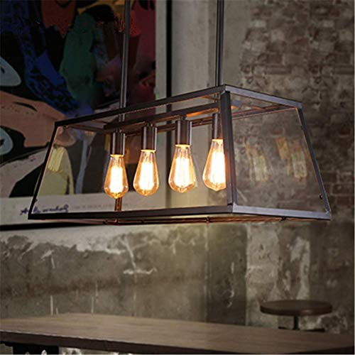 LKK-KK 4 luces de la habitación decoración del arte de la luz de techo Loft industrial retro templado caja de cristal for hornear Diseño Negro Acabado Hierro forjado iluminación pendiente Hierro Metal