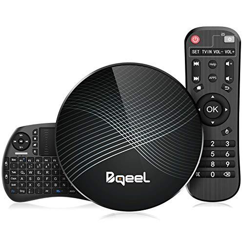 Bqeel Android 9.0 TV Box 【4G+128G】con Mini Teclado inalámbirco RK3328 Quad-Core 64bit Cortex-A53 Android TV Box ,Wi-Fi-Dual 2.4GHz/5GHz, Bluetooth 4.0 , 4K*2K UHD Smart TV Box
