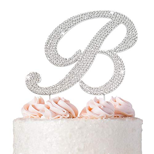 Letter B Cake Topper - Premium Silver Metal - Cursive B Monogram Wedding or Anniversary Party Sparkly Rhinestone Initial Decoration Makes a Great Centerpiece - Now Protected in a Box