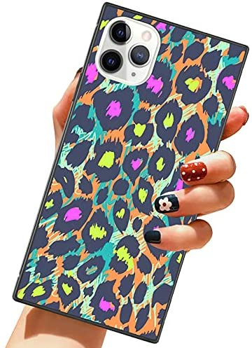 ZIYE Square Case for iPhone 11 Pro Max Purple and Green Leopard Cover with Reinforced Corners Soft TPU Cushion Shockproof Ultra Thin Cute Cover Protective Phone Case for iPhone 11 Pro Max 6.5 Inch