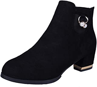 OVERDOES Women's Ankle Boots Suede Thick Heel High Heels Boots with Pearl Accessories