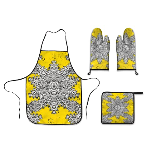 Kitchen Four Piece,vector golden mehndi pattern ornamental floral elements with henna tattoo golden stickers mehndi and,Polyester Gloves Microwave oven gloves apron Dinner plate mat Barbecue