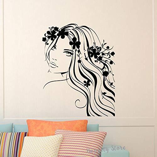 Tianpengyuanshuai Schöne Mädchen Vinyl Aufkleber für Schlafzimmer Schönheit Salon Dekoration Tür Aufkleber Wandaufkleber Kunst Wandbilder 63X79cm