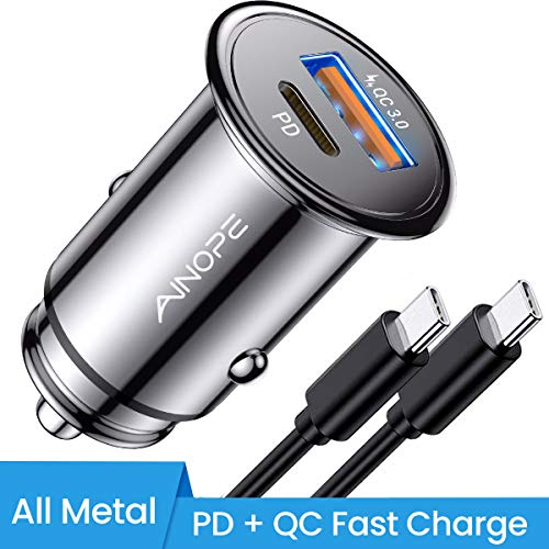 USB C Car Charger Super Mini AINOPE All Metal 6A Fast USB Car Charger PD&QC 3.0 Dual Port Car Adapter Fit Compatible with iPhone 11/11 Pro/11 Pro Max/XS, Samsung Note 10/S10, Google Pixel 3/2/XL