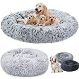 Extra Large Luxury Comfy Calming Dog/Cat Bed Round Super Soft Plush Pet Bed Marshmallow Dog Cat Bed with Soft Cushion Round Donut Nesting Cave Bed Max Load 25kg (80cm in diameter/Light-Gray)