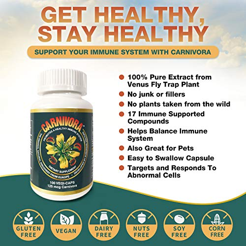 Carnivora Vegi-Caps - All Natural, Gluten Free, Vegan Friendly Capsules to Reduce Fatigue, Strengthen and Support Your Immune System (100 Capsules)