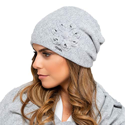 Kamea Nebraska Dame Mütze Wintermütze Kopfbedeckung, Grau,Uni