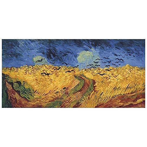 LegendArte Stampa su Tela - Campo di Grano con Volo di Corvi - Vincent Van Gogh cm. 50x100 - Quadro su Tela, Decorazione Parete