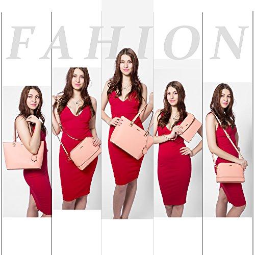 Handbags for Women Shoulder Bags Tote Satchel Hobo 3pcs Purse Set Pink