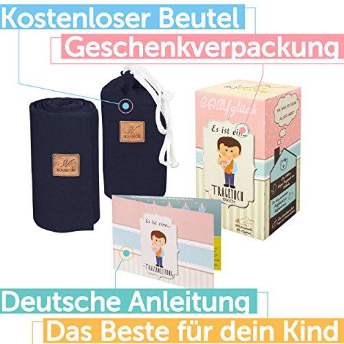 SOVERDE® Tragetuch – Babytragetuch für jede Größe I DUNKELBLAU I Inkl. Deutsche Binde Anleitung I Baby Erstausstattung - 2
