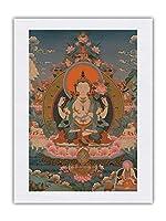 アバロキテシュヴァーラ、チャトゥルブジャ - 仏教絵画 c.1800s - シルク生地プリント 61 x 81cm