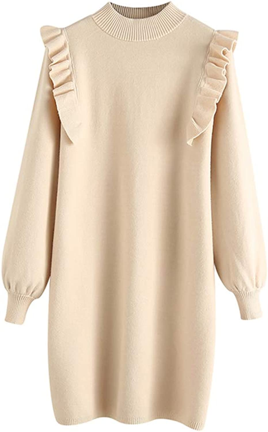 Women's Round Neck Wooden Ear Dress Sweater Dress Female Autumn and Winter Loose Slim Knit Dress (color   Beige, Size   F)