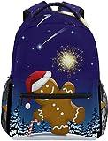 Lebkuchenmann Wunderkerze Schulrucksack wasserdichte Schulter Bookbag, Feuerwerk Schnee Laptop-Tasche Casual Day Pack Outdoor-Reise-Sporttaschen