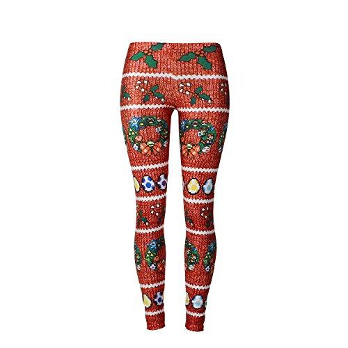 Mallas Deporte Mujer, Leggins Yoga Mujer Pantalones de Yoga Elásticos Divertido Navidad Moda Estampado Running...