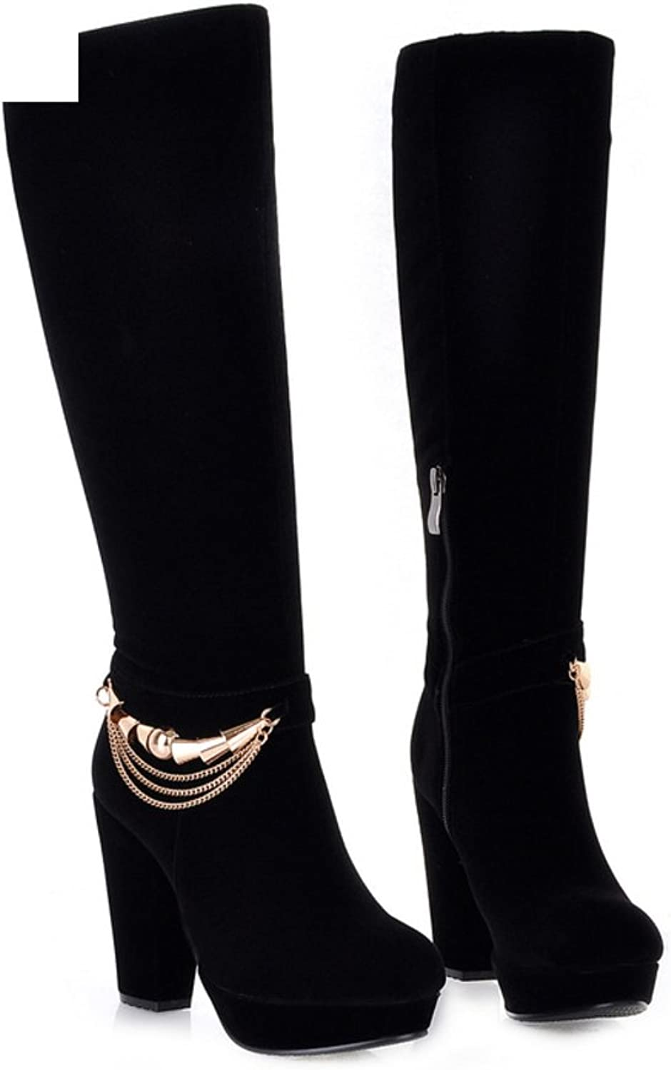 RHFDVGDS Rough in autumn and winter with thick-soled boots high heel high boots metal boots Cavalier knee boots