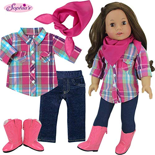 Sophia's Western Look for Dolls, 18 Inch Doll Plaid Blouse, Denim Jeggings, Bandana and Cowgirl Boots