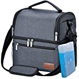 Lunch Box, STNTUS Lunch Bag, Insualted Lunch Box for Men Women, Leakproof Cooler Bag with Ice Pack, Adult Lunchbox for Meal Prep, Large Lunch Tote with Dual Compartment, Outdoor Lunch Cooler (Black)