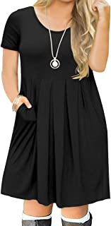 POSESHE Women's L-4XL Casual Short Sleeve Pleated Plus Size T Shirt Dress with Pockets