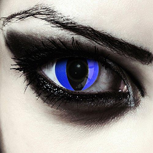 Blaue farbige Katzen Kontaktlinsen für Halloween Karneval Katzenaugen Farblinsen in blau Design: Blue Cateye