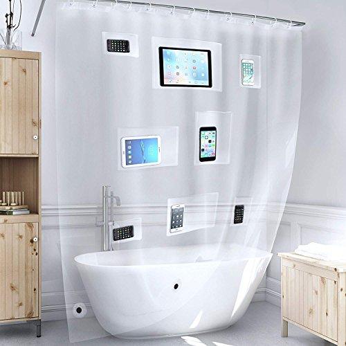 Klarer Duschvorhang, wasserdichtes beständiges Anti-Schimmel-Gewebe für Bad und Bad, weißer Kunststoff-Duschvorhang hakt Zubehör für Vorhangringe, berührungsempfindliche Taschen für Telefone, Tablets