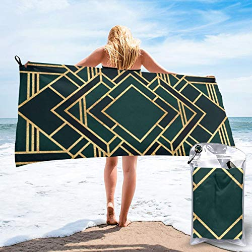 popluck Art Deco Microfiber Quick Dry Super Soft Ultra Light Travel Portable Towel for Travel Beach Camping Gym Swimming Sporting