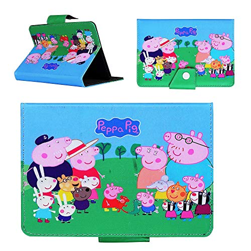 Peppa Pig All Tablet Case for KIDS ~ Peppa Family Tab cover for Apple ipad Mini 1 2 3 4 5 iPad 5 6 Air 1 2 (iPad 2 3 4, iPad 5 9.7' 2017, Peppa Pig Family)