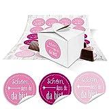 24 kleine weiße Geschenkboxen Geschenkverpackung Geschenkschachteln 8 x 6,5 x 5,5 + runde pink rosa-rote Aufkleber SCHÖN DASS DU DA BIST 13236 für Gastgeschenke, Give-aways, Mitgebsel