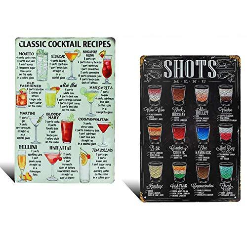 2 Stück Cocktail-Metallschilder, Retro-Klassischer Stil, Altmodisches Interessantes Logo, Cocktail-Muster, Bar-Dekoration, Wanddekoration