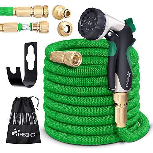 TRESKO® Flexibler Gartenschlauch   ausgedehnt 30m   Wasserschlauch flexibel mit 3-Fach Latexkern   dehnbarer flexiSchlauch   alle Verschraubungen aus hochwertigem Messing