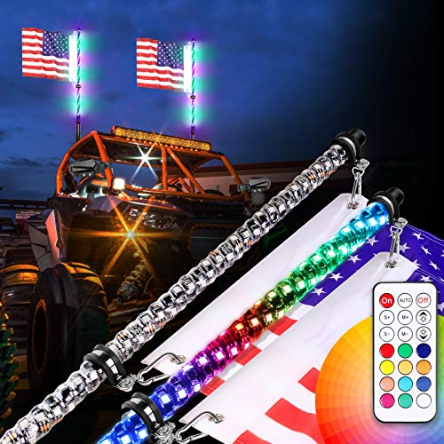 Teochew-LED 2PCS 2FT LED Whip Lights with RF Remote Spiral RGB Chase/Dancing Light Offroad Warning Lighted Antenna LED Whips for UTV ATV Off Road Truck RZR Can-am Buggy Dune