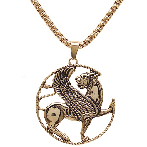 Asoodehdelan Gold Pt Iranian Persian Army Winged Lion Necklace Chain Irani Gift Farvahar (18