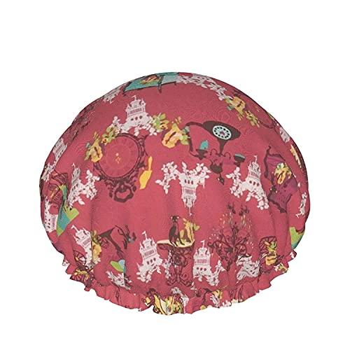 Gorro de ducha con reloj de transporte para perros para mujer, pelo largo, impermeable, de lujo, reutilizable, para dormir, Spa, salón, capó