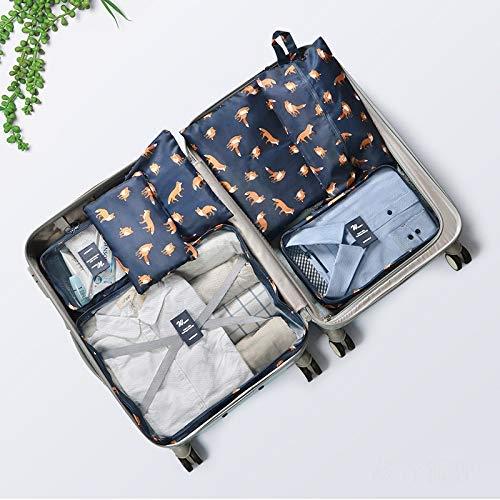 Cubos de Embalaje para Maleta 7 PCS Organizadores de Embalaje de Viaje Esenciales Set Tela Organizador de Equipaje de Viaje Ropa Zapatos Cosméticos Artículos de Aseo Bolsas de Almacenamiento