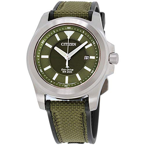 Citizen Men's 42mm Green Cloth Band Steel Case Eco-Drive Watch BN0211-09X