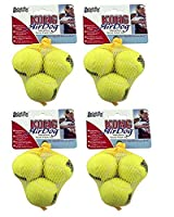 Four packs of Kong Air tennis balls - 12 balls in total supplied Each tennis ball has a diameter of approximately 4 centimeter Combining two favourite dog toys - a ball and a squeaky toy. Each tennis ball has an internal squeaker to satisfy dog's hun...