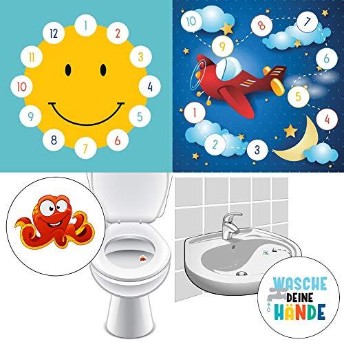By Diana Bad Trainer Belohnungstafel Kinder Belohnung System Händewaschen Toilette (Smiley + Flugzeug + Krake + Hände)