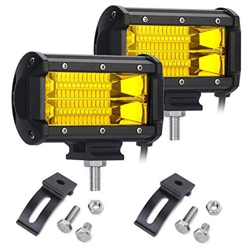 SKYWORLD led arbeitsscheinwerfer bar, 5 Zoll 12.7cm 72W Flutlicht Offroad Beleuchtung für 4x4 SUV ATV UTV Auto traktor 6000K IP67 Wasserdicht 12V 24V Gelb LED Zusatzscheinwerfer Bar