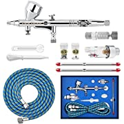 """Gocheer High Precision Dual Action Gravity Feed Airbrush with 0.2 0.3 0.5mm Nozzles and 1/8""""5.9ft Hose for Art Painting Tattoo Manicure Spray Model Nail Make up + Air Brush Cleaning Repair Tool Kit"""