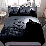 MEW Anime 3 Piece Bedding Sets, Batman (51), Pattern Printed Comforter Cover, Queen Full Size, 90x90 inch