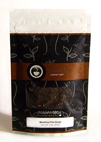 Mahamosa Wedding Chai Decaf Tea 2 oz - Loose Leaf Decaffeinated Black Tea (with crushed green cardamom, cardamom seeds and vanilla flavor)
