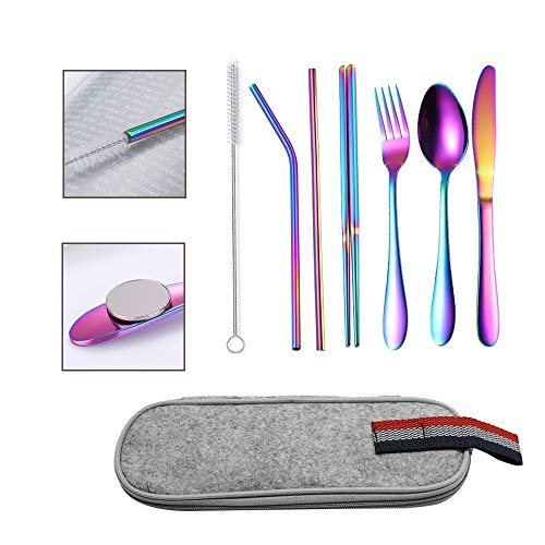 UOIENRT Reusable Portable Utensils Travel Camping Cutlery Set with case Stainless Steel Flatware Set,8-Piece Rainbow Including Knife Fork Spoon Chopsticks Cleaning Brush Straws Portable Case